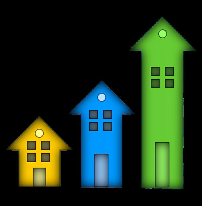 trois flèches de taille croissante en forme de maison